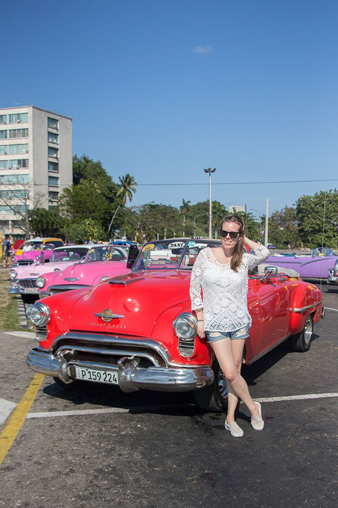 Red classic car in Havana, Cuba