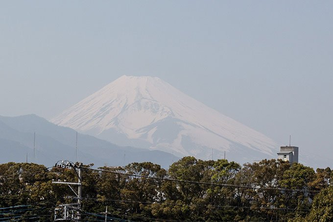 View of Mt. Fuji from Mishima station on Japan's Izu peninsula.