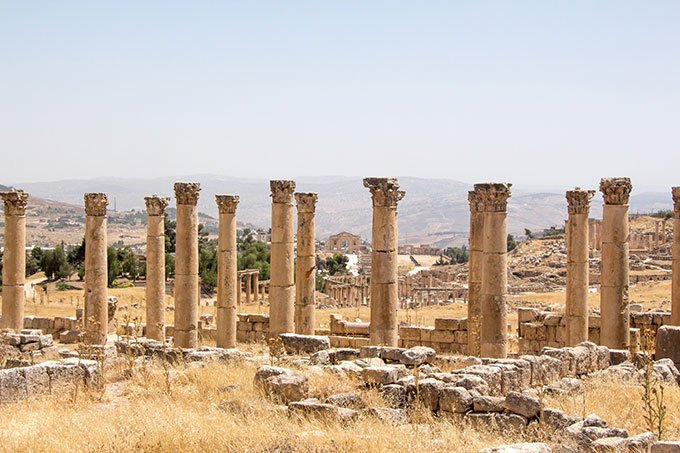 Ancient ruins in Jerash, Jordan