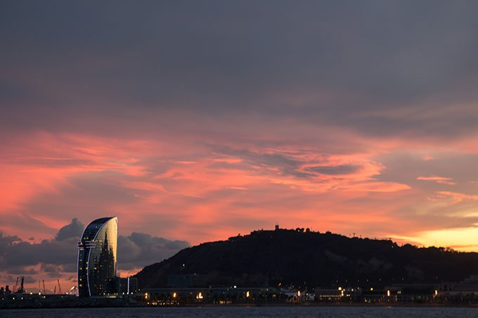 View of W hotel from sailboat: Fun things to do in Barcelona for a girlfriends getaway.