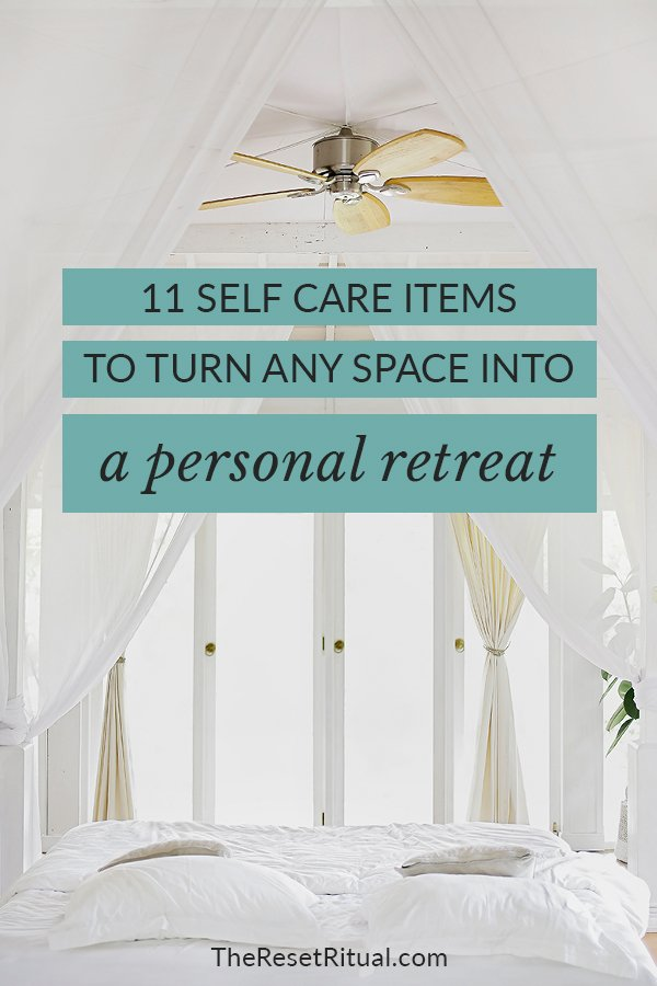 Ready for self care retreat? Whether you're traveling or at home, turn any space into a sanctuary with these self care items for your mind, body, spirit and space. Plus, grab your free DIY personal retreat planner. #selfcare #retreat