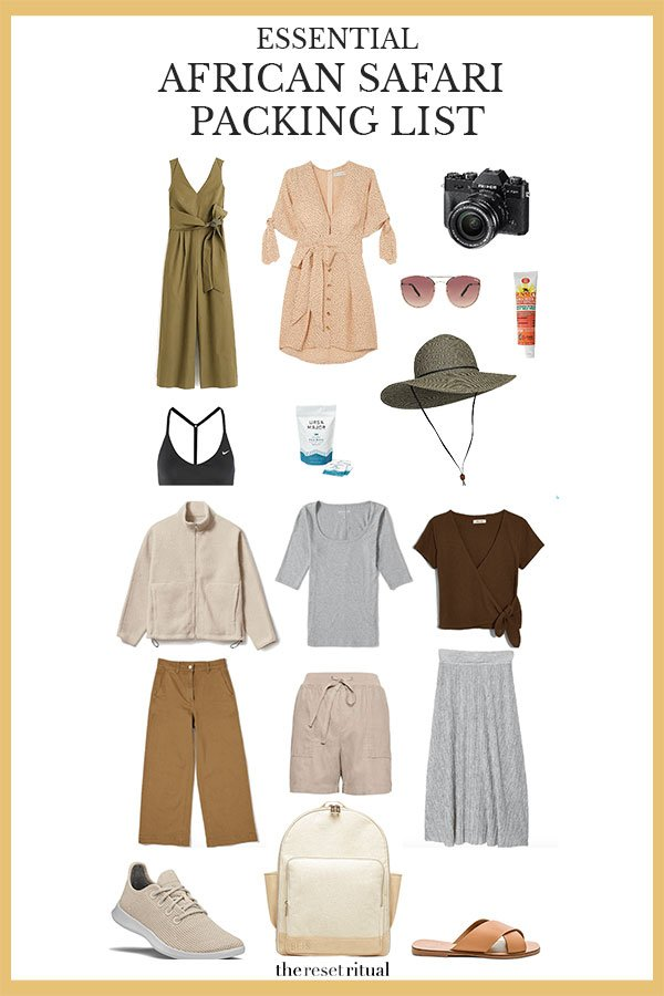 Wondering what to wear on safari? Get your essential African safari vacation packing list including practical safari clothes, safari outfit ideas, travel toiletries, travel essentials, and more minimalist packing tips. #africansafari #travelpacking #honeymoontravel #africatravel