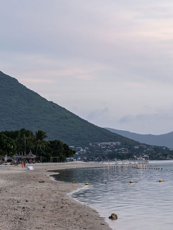 Mountains, palm trees and beach