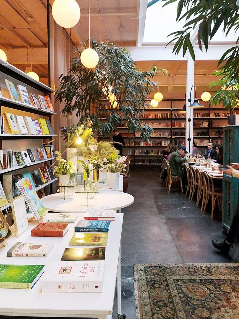 Book shop and restaurant inside Brewery Bhavana in downtown Raleigh, NC