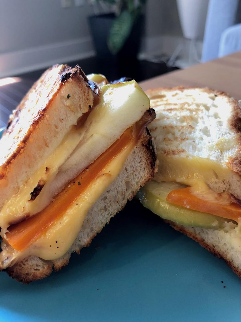 Grilled cheese and apple sandwich