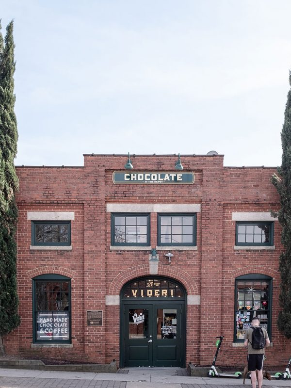 Brick exterior of Videri Chocolate Factory in downtown Raleigh, NC