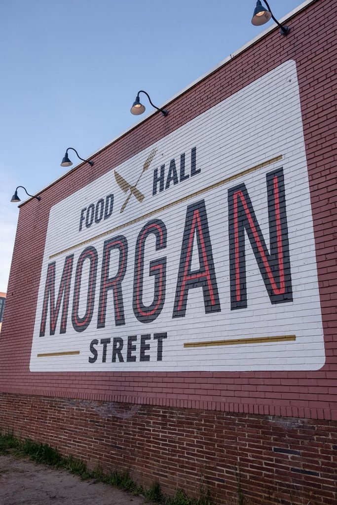 Outside entrance of the Morgan Street Food Hall in Raleigh