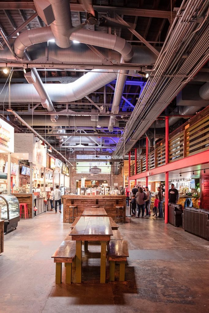 Warehouse interior of the Morgan Street Food Hall in downtown Raleigh, NC