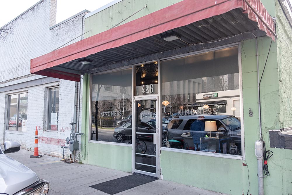 Green exterior of Poole's restaurant in downtown Raleigh, NC