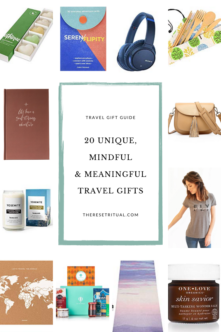 Looking for a unique travel gift? We\'ve rounded up 20 mindful and meaningful gifts for travel lovers. From sustainable gifts to wellness gifts, journaling gifts and beyond, these gift ideas are perfect for building a travel kit gift, as travel stocking stuffers or on their own. #travelgift #giftguide #holidaygift #christmasgift